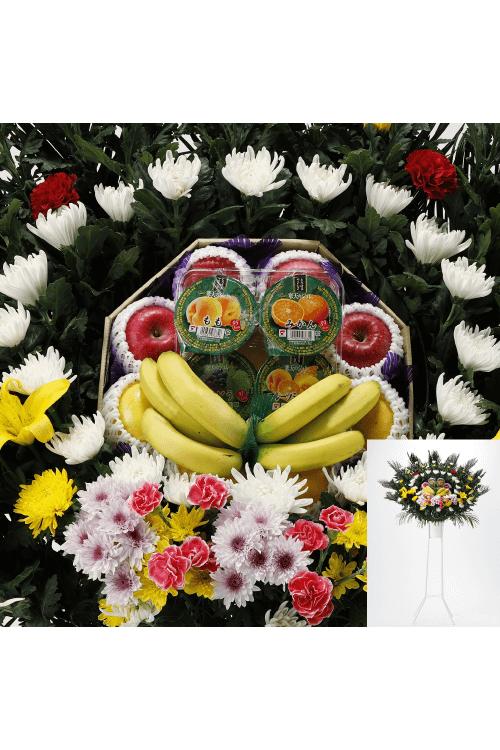 No.850 フルーツ花輪 一段飾り【旭川のやわらぎ斎場へお届け】
