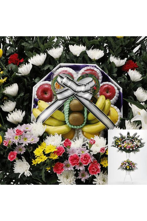 No.852 フルーツ花輪 二段飾り【旭川のやわらぎ斎場へお届け】