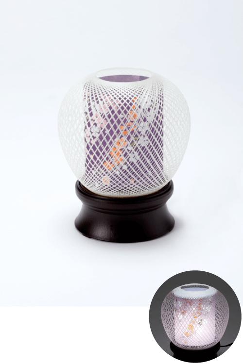 No.151 灯籠 花まゆ2号(桜)白色LED  (19cm)【札幌のやわらぎ斎場へお届け】